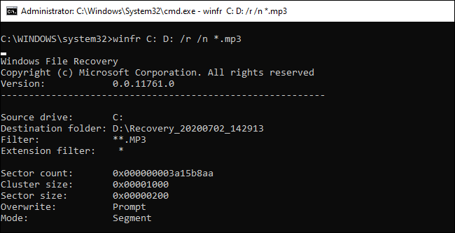 Running winfr in Segment mode in Command Prompt.