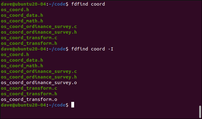 fdfind code in a terminal window.