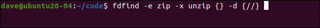 fdfind-e zip -x unzip {} -d {//} in a terminal window.