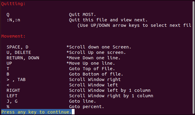 The most pager help screen in a terminal window.