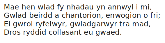 image containing text of the first verse of the Welsh national anthem.
