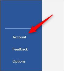 Account option in left-hand pane of Word