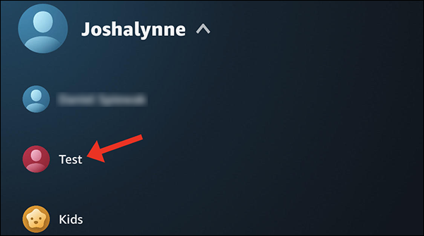 Tap the profile name to switch to it.