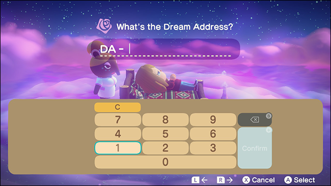 "The ""What's the Dream Address"" input menu in Animal Crossing: New Horizons."