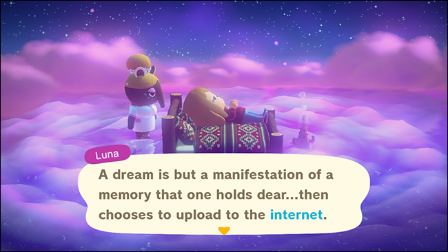 "Luna appearing next to a sleeping character in ""Animal Crossing: New Horizons."""