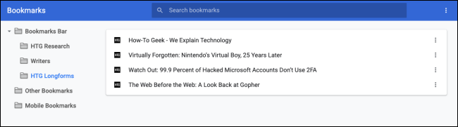 Bookmarks in the folder in the bookmark manager