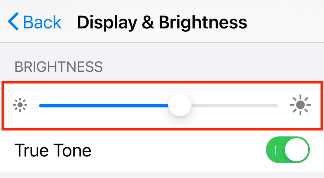 Brightness slider in Settings