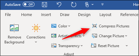 "Click ""Compress Pictures"" in Word."