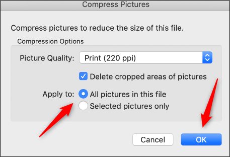 "Select whether you want to apply the compression to all images in the document, and then click ""OK."""
