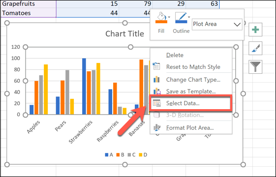 Right-click on your chart and then click Select Data to begin renaming your data series.