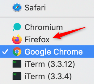 Firefox option in default browser list