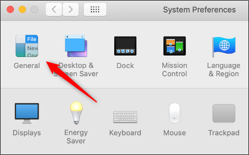 General option in system preferences