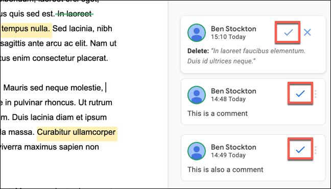 To accept a comment or edit suggestion in Google Docs, click the tick icon in the comments box for it.