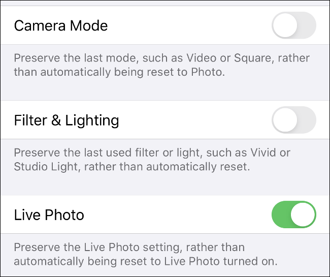 "The ""Preserve Settings"" menu in the iPhone Camera app."