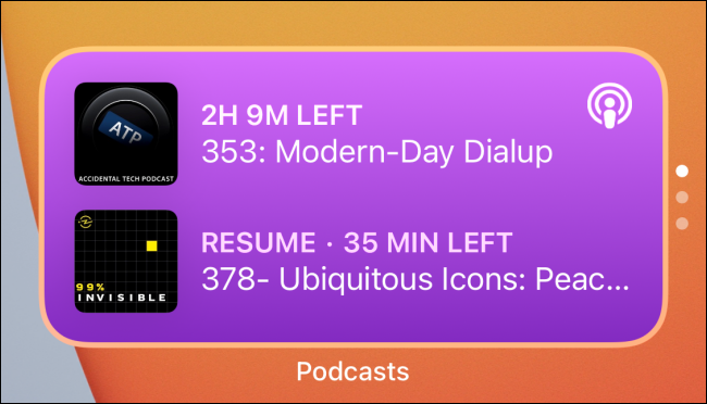 """A """"Podcasts"""" widget stack."""