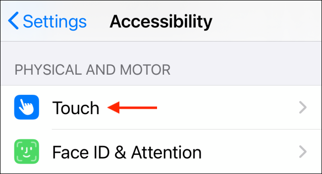 Select Touch from Accessibility