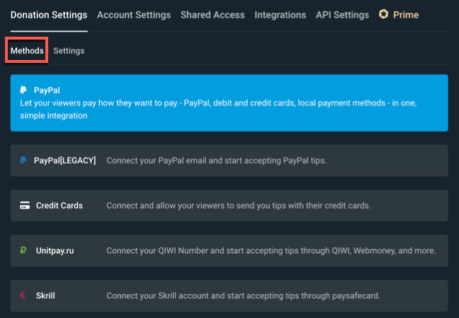 To access your Streamlabs donation methods, click the Donation Settings > Methods tabs and select one of the available options.