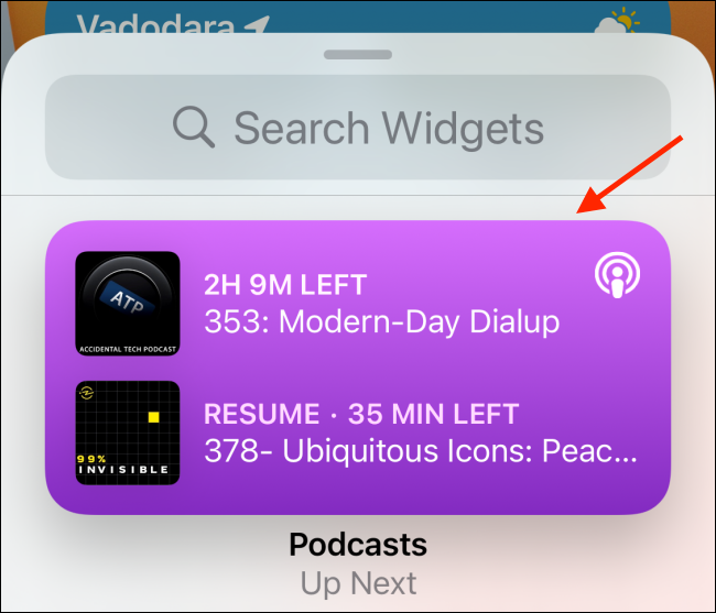 Tap and hold a widget's preview to select it from the widget picker.