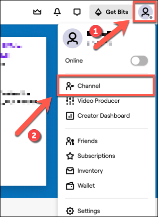 "To access your Twitch channel, tap the channel icon in the top-right. From the drop down, click the ""Channel"" option."