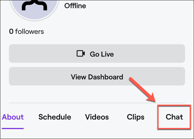 "In your channel profile, click the ""Chat"" option."