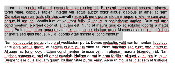 Example text from a Microsoft Word document with a paragraph selected.