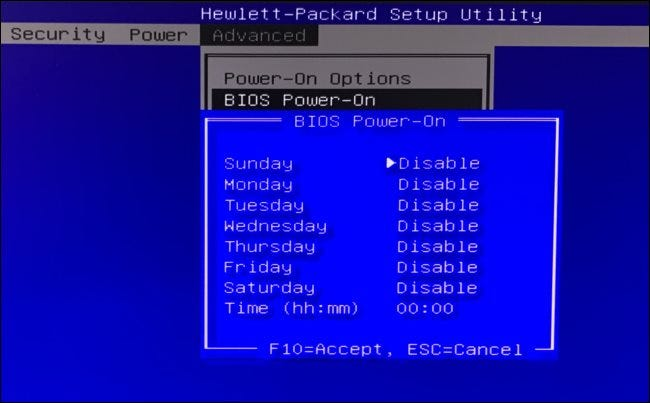 BIOS Power-On options on an HP computer.
