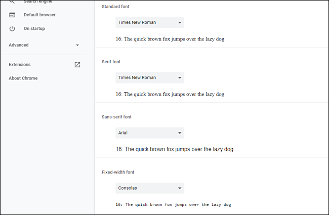 Customize font options in Chrome