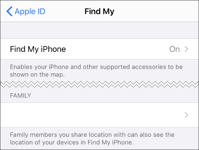Find My iPhone options in the iPhone's Settings app.