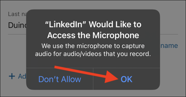 Grant the LinkedIn app permission to access your phone's microphone