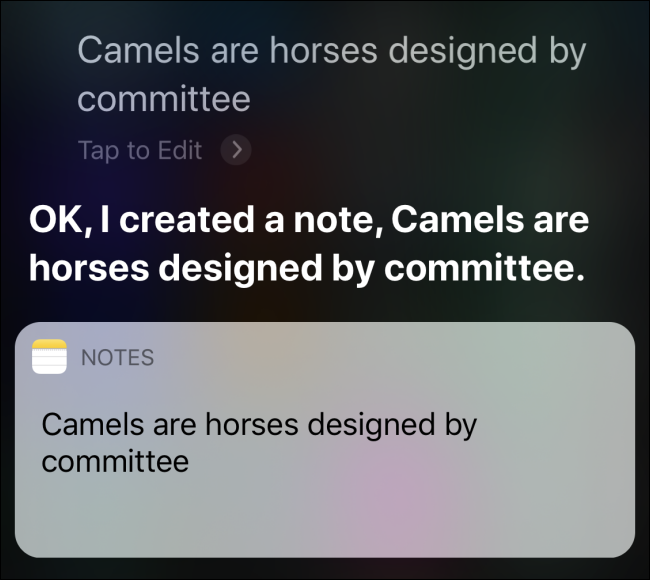Asking Siri to create a note on iPhone