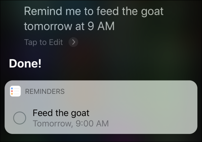 "Siri confirming a reminder to ""feed the goat tomorrow at 9 AM."""