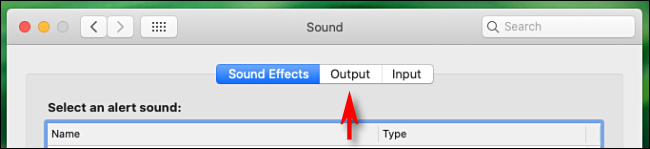Click the Output tab in Mac Audio Preferences
