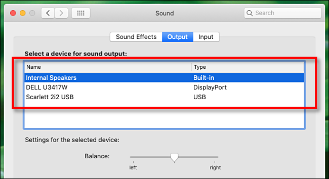 Select an audio output device in Mac Audio Preferences