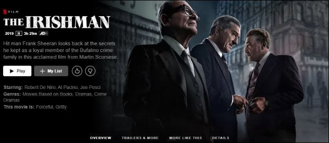 The Irishman on Netflix