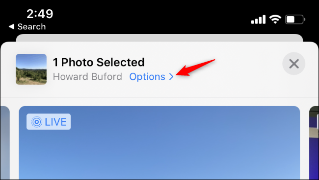 Accessing location options while sharing a photo in the iPhone's Photos app.