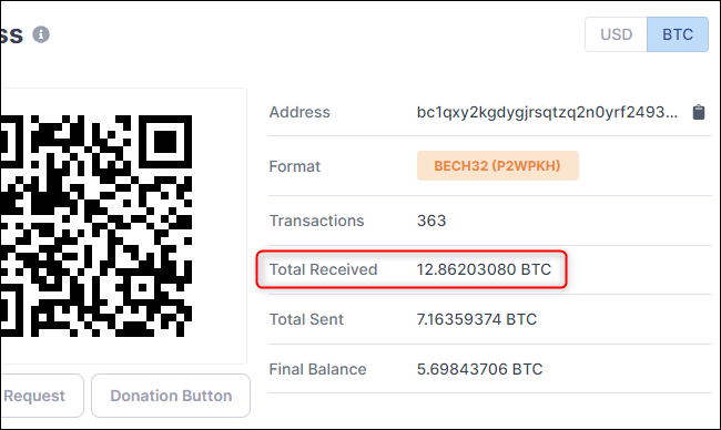 See how much BTC a Bitcoin account has received.