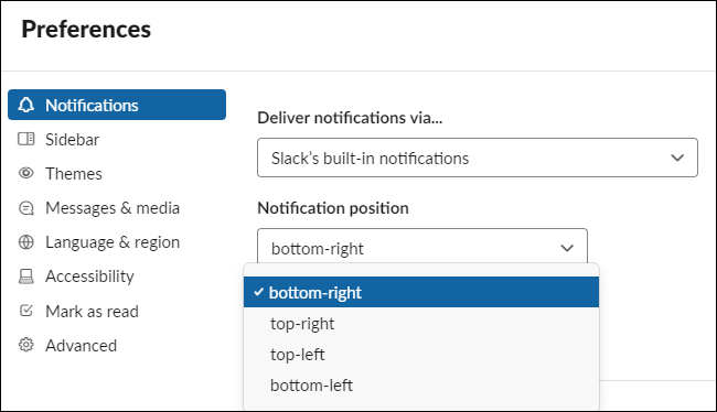 Slack notification position options on Windows 10.