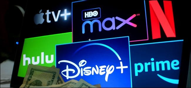 Logos for streaming services such as Apple TV +, HBO Max, Netflix, Hulu, Disney + and Prime Video.