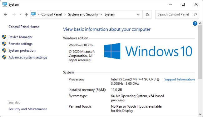 The System screen in Windows 10's Control Panel.