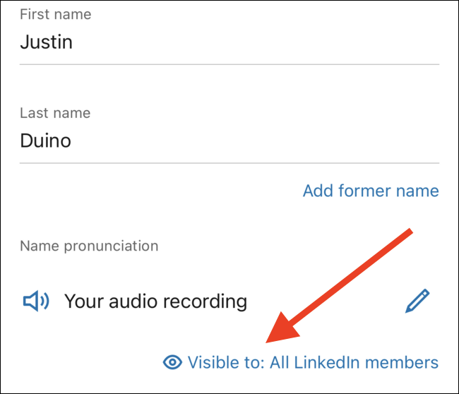 "Tap the ""Visible To"" link to edit who can hear your recording"