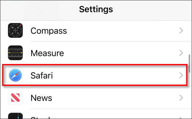Tap Safari Settings on iPhone