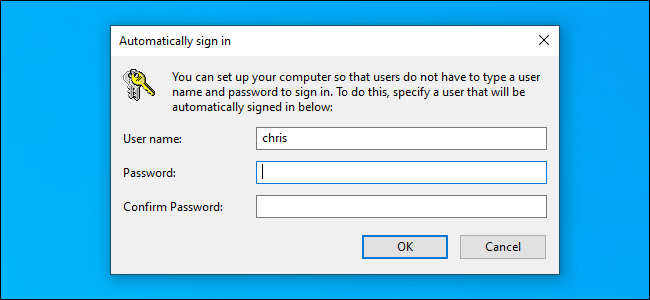 "The ""Automatically sign in"" options window on Windows 10."