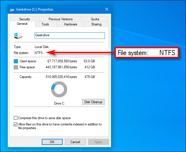 View a device's file system in the Windows 10 Properties window