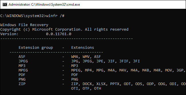 Information about winfr's file extension groups shown in Command Prompt.