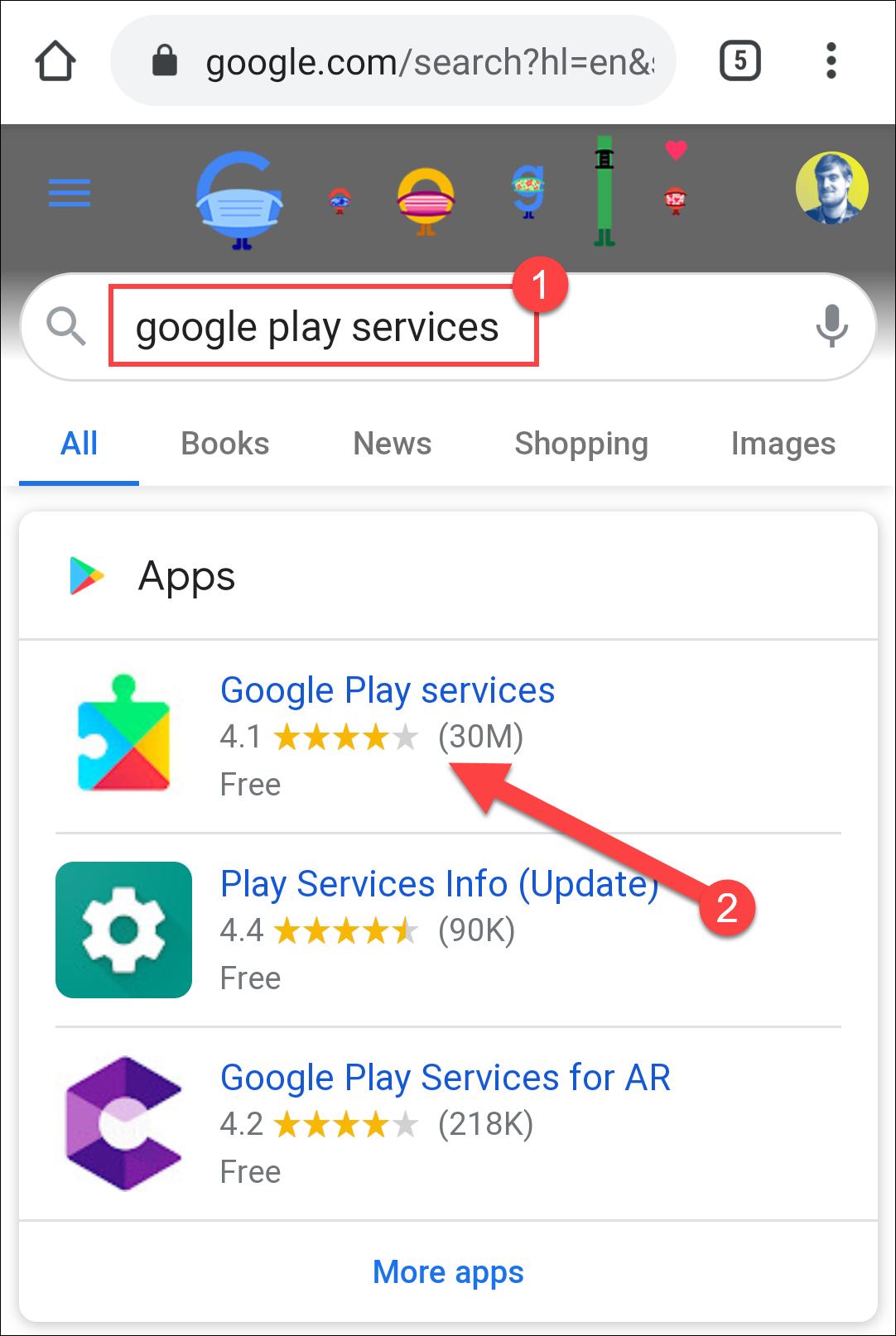 búsqueda de servicios de google play