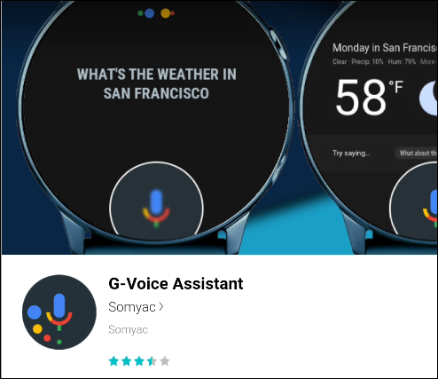 The G-Voice Assistant in the Galaxy Store.