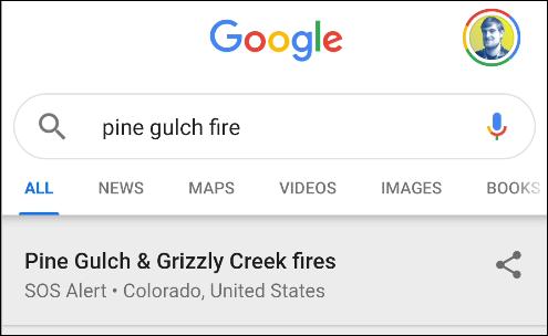 google wildfire search