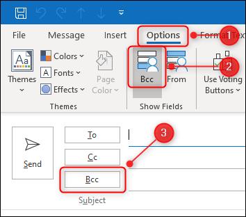 """Botón de alternancia """"BCC"""" de Outlook."""