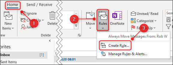 "The ""Rules"" menu with ""Create Rule"" highlighted."