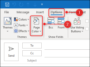 """Click """"Options,"""" and then select """"Page Colors."""""""